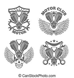 Vintage motorcycle labels, badges. Motorbike vector logo set