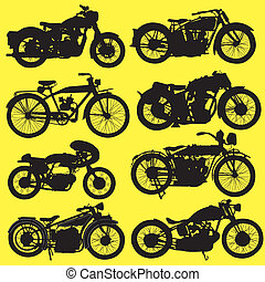 Vintage Motorcycle motorbike vector on yellow background