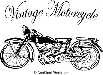 vintage motorcycle on a white background