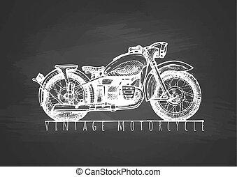 Vintage motorcycle on blackboard