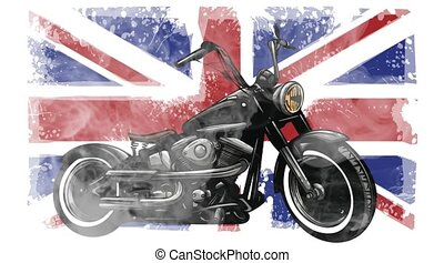Vintage motorcycle on United Kingdom flag background