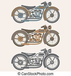 vintage motorcycle set graphic vector design template