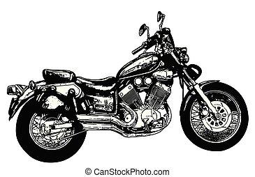 vintage motorcycle sketch illustration