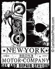 Vintage motorcycle Skull poster t shirt design