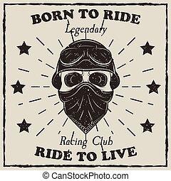 Vintage motorcycle t-shirt vector grunge illustration. Born...