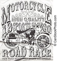 Vintage Motorcycle vector tee graphic design
