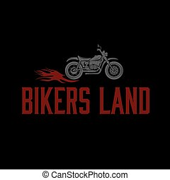 vintage motorcycle with flames graphic vector design template