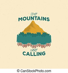 Vintage mountain emblem, graphic color emblem with mountain and forest silhouette in grunge style