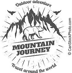Vintage Mountain Travel Logo - Vintage mountain travel logo...