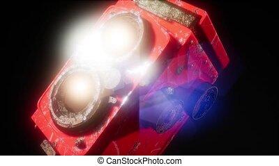 Vintage movie camera in the dark