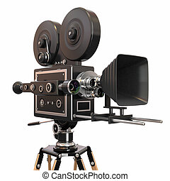 Vintage movie camera on white background. 3d - Vintage movie...