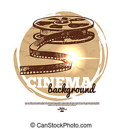 Vintage movie cinema banner with hand drawn sketch illustration
