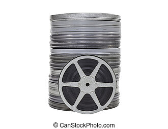 Vintage Movie Film Cans and Reel Isolated