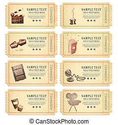 Vintage Movie Ticket - illustration of set of vintage movie...