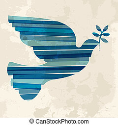 Diversity colors transparent bands peace dove over grunge background. EPS10 file version. This illustration contains transparency and is layered for easy manipulation and custom coloring.