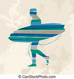 Diversity colors transparent bands surfer with surfboard over grunge background. EPS10 file version. This illustration contains transparency and is layered for easy manipulation and custom coloring.