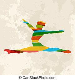 Vintage multicolor gym woman