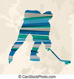 Vintage multicolor hockey player
