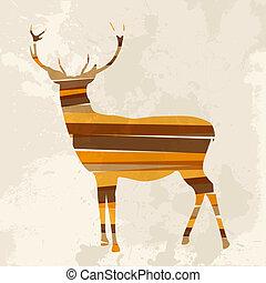 Vintage multicolor reindeer