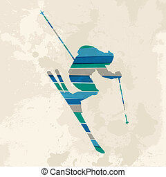 Vintage multicolor Skier