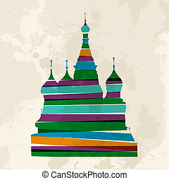 Vintage multicolor St. Basils Cathedral - Diversity colors...