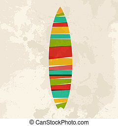 Diversity colors transparent bands Surfboard over grunge background. EPS10 file version. This illustration contains transparency and is layered for easy manipulation and custom coloring.