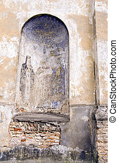 vintage mural painting on chuch wall