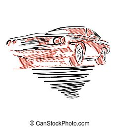 Vintage muscle car drawing