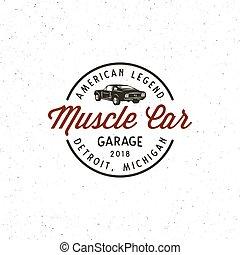 vintage muscle car garage logo. vector illustration