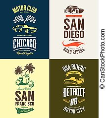 Vintage muscle car, moped, cabriolet and classic vehicle vector t-shirt logo isolated set.