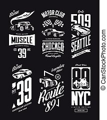 Vintage muscle car, roadster vector t-shirt logo isolated set.