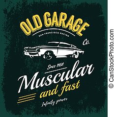 Vintage muscle car vector logo concept isolated on green