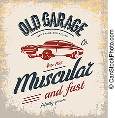 Vintage muscle car vector logo isolated on light background.