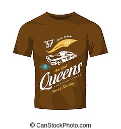 Vintage muscle car vector logo isolated on brown t-shirt mock up.