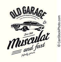 Vintage muscle car vector logo isolated on white background.