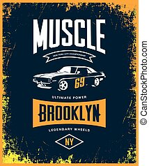 Vintage muscle car vector tee-shirt logo isolated on dark.