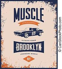 Vintage muscle car vector tee-shirt logo isolated on light.