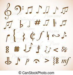 Vintage music notes and signs