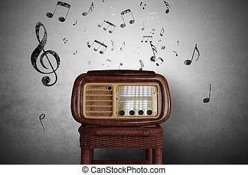 Vintage music notes with old radio