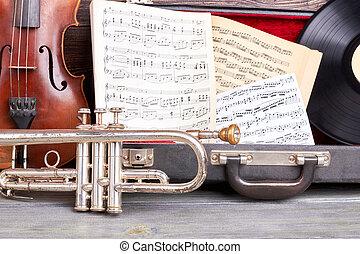 Vintage musical instruments background.