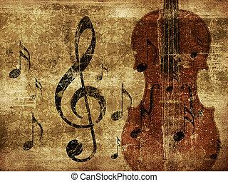 Vintage musical violin background - Illustration of grunge ...