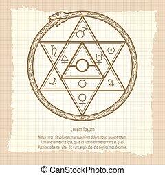 Vintage mystical astrological sign