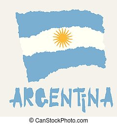 Vintage national flag of Argentina in torn paper grunge texture style. Independence day background. Isolated on white Good idea for retro badge, banner, T-shirt graphic design.