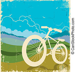 vintage nature background with bike on old paper texture. Vector illustration