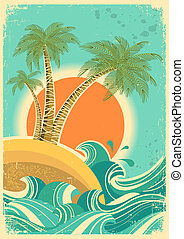 Vintage nature sea with waves and sun. Vector retro poster ...