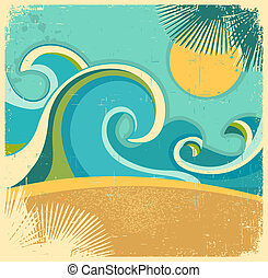 Vintage nature sea with waves and sun.Vector retro poster on old paper texture background