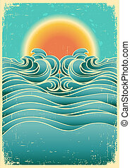 Vintage nature seascape background with sunlight on old...