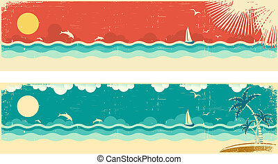 Vintage nature seascape banners with sea and palms on...