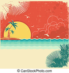 Vintage nature tropical seascape background with island and palms decoration on old paper poster texture