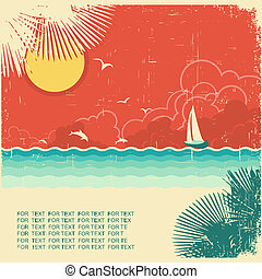 Vintage nature tropical seascape background with palms decoration on old paper poster texture